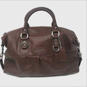 Coach Ashley large brown leather satchel